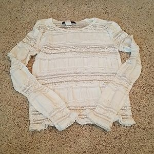 Kitsch cream lace and mesh sz small shirt